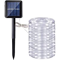 Manguera led solar, DINOWIN 72ft/22M 200leds Guirnaldas Luminosas Solares de Cuerda, Exterior led Luces decorativas (Blanco)