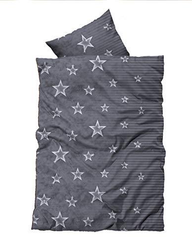 Leonado Vicenti 4 TLG. / 2x2 TLG. Bettwäsche 135x200 cm mit Sternen in grau/weiß aus Fleece Set mit Reißverschluss