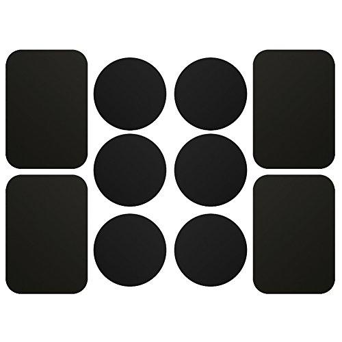 AJOXEL 10 Pezzi Placche Metalliche Adesive per Cellulare, 10 Piastrine Metalliche (4 Rettangolari e 6 Tonde) con Adesivo 3M per Supporto Magnetico Auto/Porta Telefono Auto con Calamita - Nero