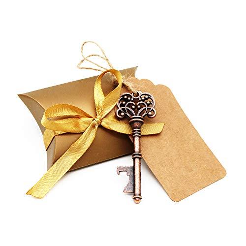 BITEYI Chiave Apribottiglie per Matrimonio,Bomboniere Skeleton Key Bottle Openers con Scatola di Caramelle e Tag Card,Decorazioni di Festa retrò,30 Pezzi (Style 2)