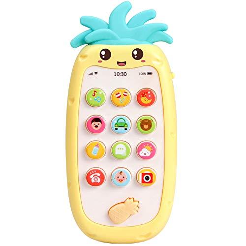dontdo Teléfono móvil Música Educación Temprana Juguetes Forma Piña Simulada Teléfono Móvil Bilingüe Musical LED Niños Educación Juguete Amarillo