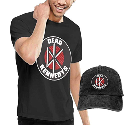 SOTTK Herren Kurzarmshirt Mens Cool Dead Kennedys Brick Logo Tshirts and Washed Denim Hat Casquette Black