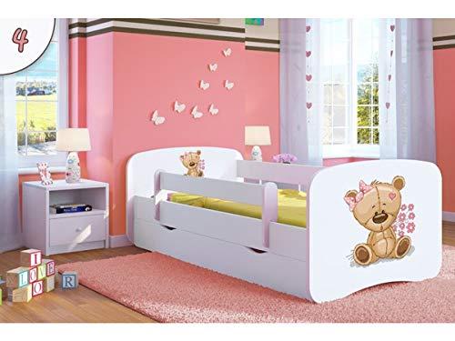 Cama infantil 140x70 Cama para Niños blanca con barrera de protección contra...