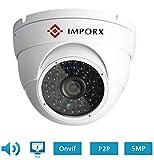 Cámara Vigilancia Exterior IP PoE Domo Impermeable IP66 Visión Nocturna Detección de Movimiento (5MP)