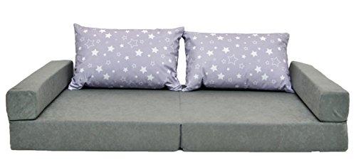 Multifunktionales Kindersofa mit Kissen Minisofa Kindersofa Kindermatratze Spielsofa Klappmatratze Couch 3 in 1 GRAU STERNE GRAU