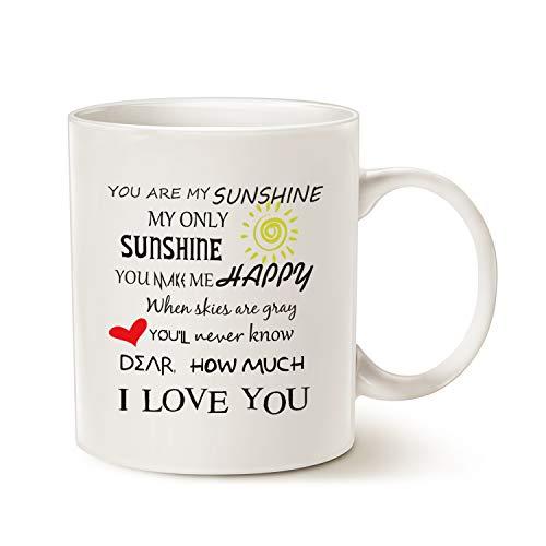 MAUAG Inspirational Love Coffee Mug, You Are My Sunshine Word Art Typography Coffee Cup White, 11 Oz