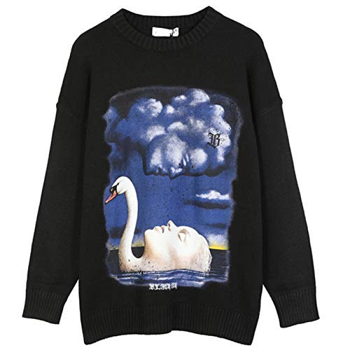 BeiBaby Sweater Men Vaporwave Funny Picture Print Knitted Pullover High Street Couple Streetwear 4 Color Optional