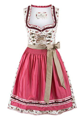 Stockerpoint Damen Dirndl Isadora Kleid für besondere Anlässe, Creme-Fuchsia, 38