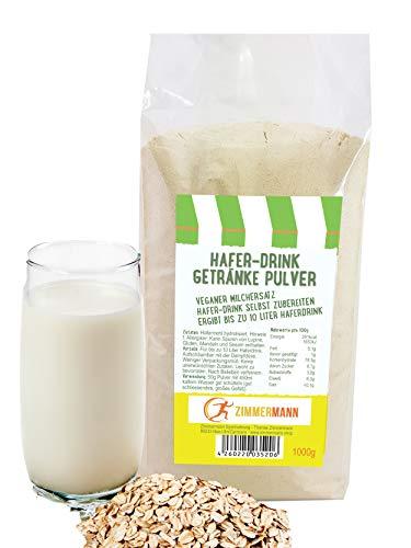 Hafer-Drink Instant Getränke Pulver 1000g - Hafer-Drink selbst zubereiten - veganer Milchersatz - ergibt bis zu 10 Liter Haferdrink - von Zimmermann Sportnahrung