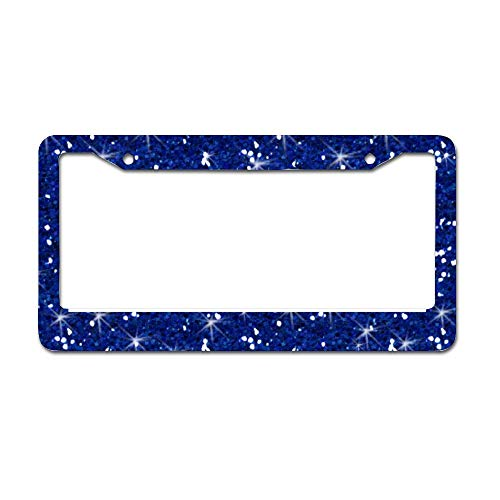 "UTF4C Navy Blue Glitter Printed Car License Plate Frame - Chrome Metal Auto License Plate Frame Tag Holder Frame Cover - 12""X6"" for Universal Cars"