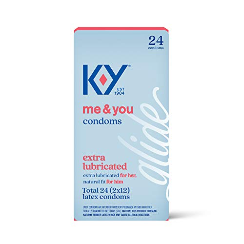 K-Y Extra Lubricated Ultra Thin Latex Condoms- Extra Water Based Lube For Comfort and Smoothness, Reservoir Tip, HSA Eligible, 24 Count