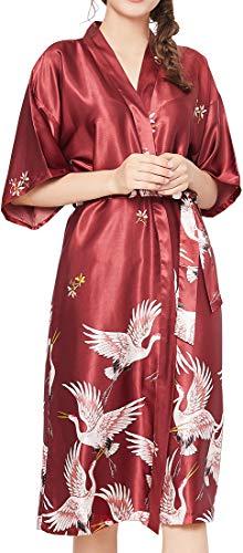 Chaos World Damen Morgenmantel V-Ausschnitt Kimono Seide Satin Lange Robe Bademantel mit Crane (Weinrot,XXX-Large)