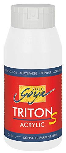 Kreul 17301 - Solo Goya Triton S Acrylfarbe, schnell trocknend mit Glanzeffekt, 750 ml Flasche, weiß, Farbe auf Wasserbasis, in Studioqualität, vielseitig einsetzbar, gut deckend und ergiebig