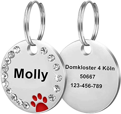 Cerolopy Custom Pet ID Tags, Round Crystal Tags with Pretty Glitter Bling Paw Print , Double-Side Laser Engraving Tags Fit Small Medium Large Dogs and Kittens( Red)