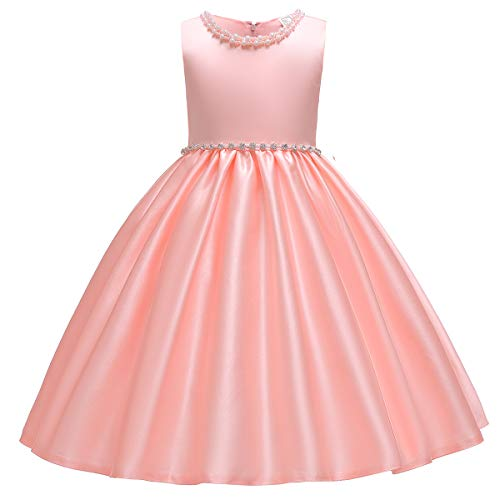IBTOM CASTLE Blumenmädchen Prinzessin Kleid Urlaub Hochzeit Mädchen Festzug Taufkleid Abendkleid Brautjungfer Erste Kommunikation Kleider Rosa 9-10 Jahre