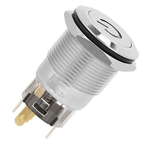 Interruptor de botón, pulsador momentáneo estable 12VDC con cobre BEM-19-11D (rojo)