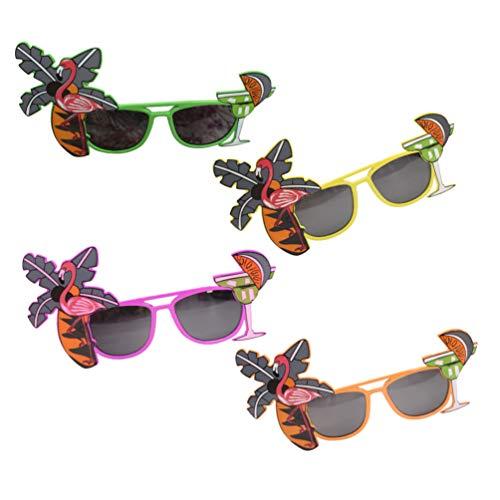 NUOBESTY 4Pcs Luau Party Sunglasses Hawaiian Flamingo Tropical Party Glasses Disfraz Gafas para Niños Adultos Photo Prop (Color Randon)