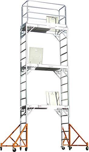 CBM Scaffold Aluminum Scaffolding Rolling Tower 17' Standing High with Hatch Decks & Gaurd Rail U Locks CBM1290