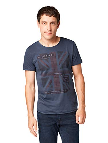 TOM TAILOR Denim Herren Englandfahnen Druck T-Shirt, Blau (Sky Captain Blue 10668), XL