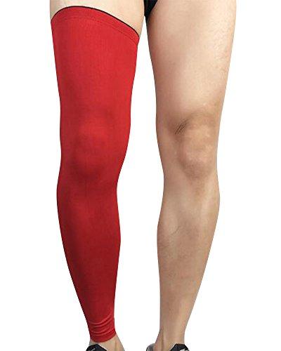 Qitun Elastic Atmungsaktiv Kniebandage/Kompression Bein Sleeve,Ideal für Intensives Übungen Basketball Bergsteigen Fußball Tennis etc.(Einzelner Wrap) Rot M