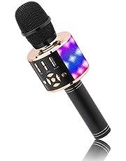 Kids Microphone Wireless, Magic Sound Karaoke Wireless Microphone, 4 in 1 Bluetooth Karaoke Machine, Adult Car Karaoke Microphone Singing Machine, for Party/Outdoor/Travel (Black Gold)