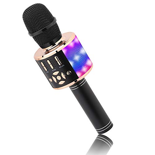 Microfono per Bambini Senza Fili, Microfono per Karaoke con suono magico BONAOK, Macchina per Karaoke Bluetooth 4 in 1, microfono per Karaoke, per Feste all aperto Viaggi (Oro Nero)