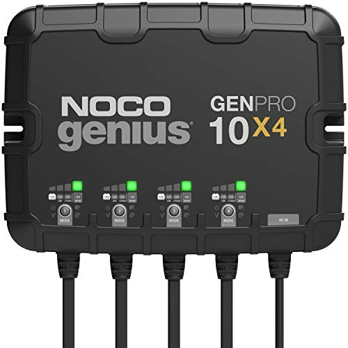 NOCO Genius GENPRO10X4, 4-Bank, 40-Amp (10-Amp Per Bank) Fully-Automatic Smart Marine Charger, 12V Onboard Battery Charger, Battery Maintainer And Battery Desulfator With Temperature Compensation