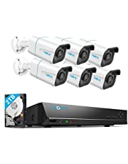 REOLINK H.265 4K PoE Security Camera System, 6pcs 8MP Wired PoE IP Cameras with Person Vehicle Detection, 8CH NVR Recorder with 2TB HDD for 24-7 Recording, RLK8-810B6-A