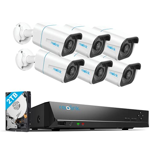 Reolink H.265 4K PoE Security Camera System, 6pcs 8MP Person/Vehicle Wired PoE IP Cameras, 8CH NVR Recorder with 2TB HDD for 24/7 Recording, RLK8-810B6-A