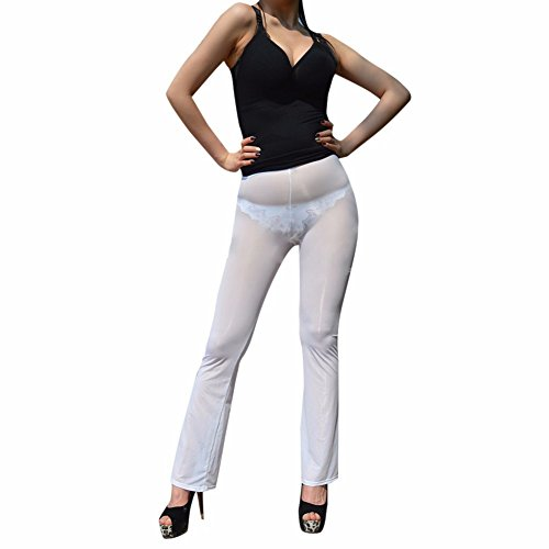iEFiEL Damen Hose Lange Transparente Leggings Durchsichtige Netz Hose Strumpfhose Pants Reizwäsche Weiß M