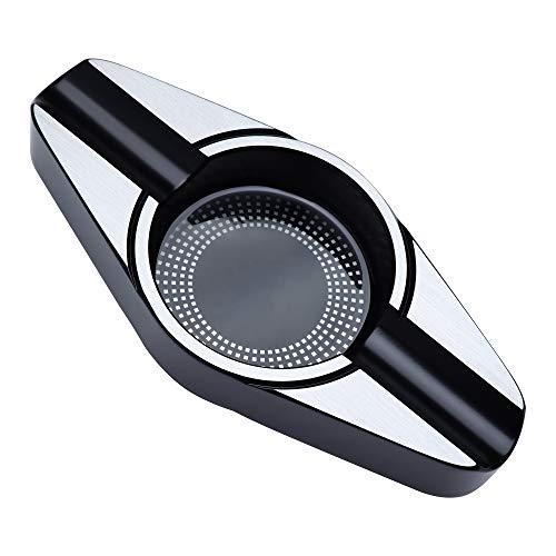 VEXO Cenicero de metal de aleación de zinc, cenicero de viaje de tamaño compacto, cenicero para casa, cenicero fresco, gran idea de regalo para hombres (negro)