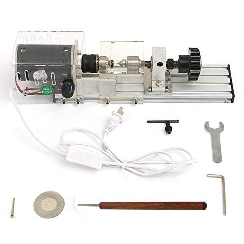 QIDOFAN Torno Tornos de madera, 350W mini torno de la máquina de la carpintería de bricolaje Torno Conjunto con adaptador de energía Herramienta