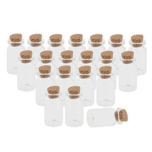yotijar 20 Stks Mini 7 Ml Glazen Containers Glazen Fles met Kurk, Lege Potten Opslag Potten Glazen Flessen Wensfles