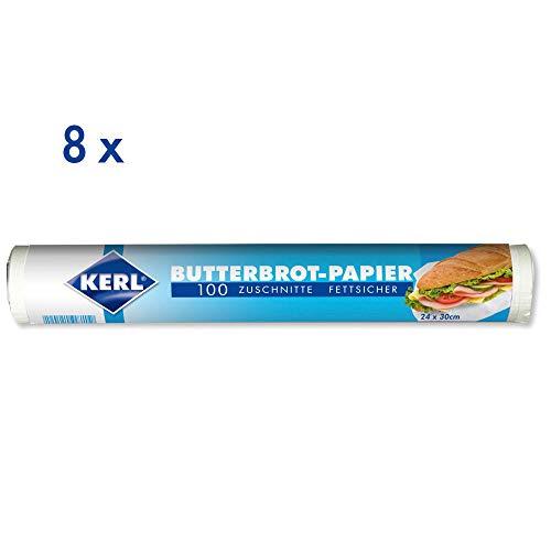 KERL Butterbrot-Papier, 24 x 30 cm, 8 Rollen á 100 Zuschnitte