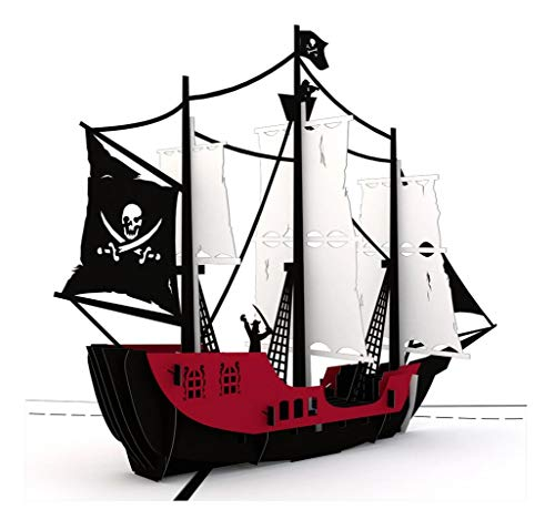 Munchkin Land Black Pirate Ship with Jolly Rogers 3D Card Pop Up Card...