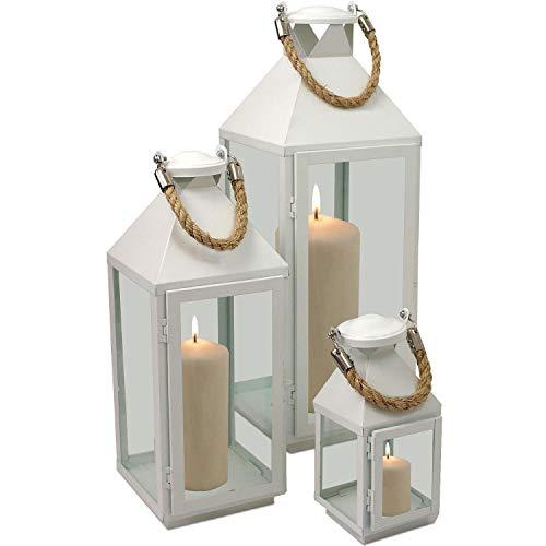 Wohaga 3tlg. Windlichter-Set H24/41/55cm Metalllaterne mit Glasfenstern und Aufhängung Weiß Gartenlaterne Laterne Windlicht Metallgestell Kerzenhalter Gartenbeleuchtung Dekoration