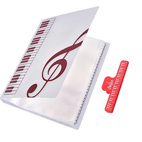 40 Blatt A4 Größe Musikordner Notenhalter Notenmappe mit Music Note Clip Buch Seite Clip, Rot