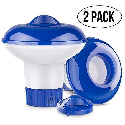 RenFox Dispensador Químico, Dispensador de Químicos para Piscinas, Ventilaciones de Flujo Ajustable y Tapa de Bloqueo, Dosificador de Cloro Flotante para Bañera(2PCS)