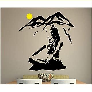 Yangll El Señor Shiva Etiqueta De La Pared Yoga Pose De Loto Vinilo Tatuajes De Pared Meditación Montaña Decoración del Hogar Dios Hindú Arte Mural 60X57 cm