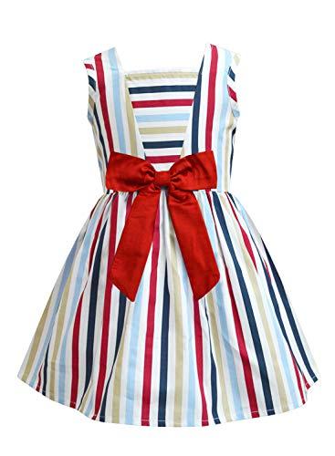 A.T.U.N. All Things Uber Nice Girl's Cotton Skater Knee-Length Dress (GDRS ANT MUR_Multi Stripe Red_5-6 YR)