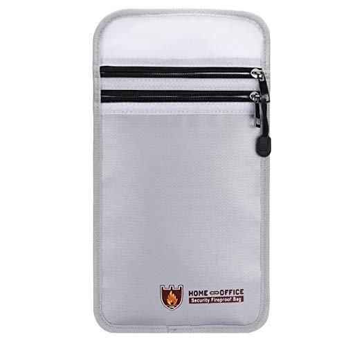 TsunNee Bolsa de documentos ignífuga, bolsa de documentos resistente al agua, bolsa segura Lipo, bolsa de seguridad contra incendios, plata