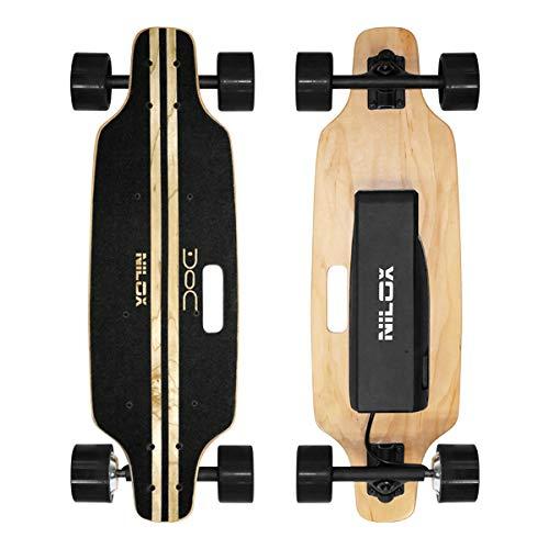 Nilox Doc Skateboard Elettrico, E-skate con Telecomando di Controllo, velocità max 12 km h, Batteria 4,4 Ah, Nero, Legno