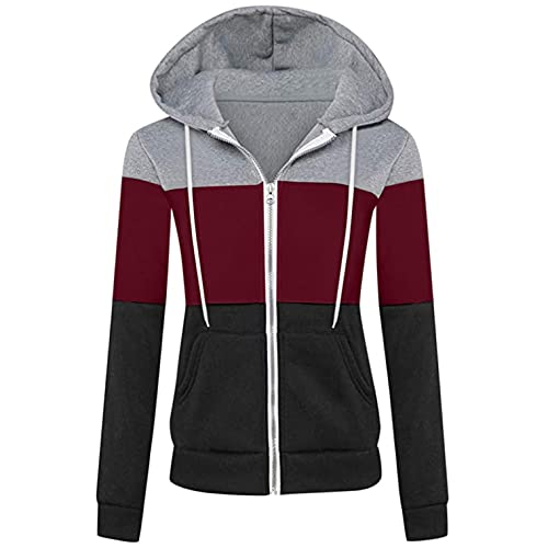 KJDWJKJRF Sudadera con capucha para mujer, para Halloween, con cordón, para otoño, de gran tamaño, con cremallera, color de contraste, con capucha y bolsillo, Wine-1., S