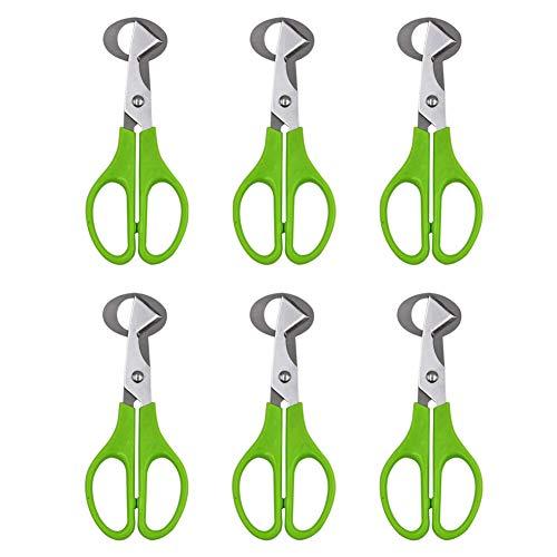 M.Z.A 6 tijeras para cortar huevos de codorniz de paloma, cortador de puros, herramienta de acero inoxidable, tijeras de corte de cáscara de huevo, herramientas de cocina, verde (verde, 6)