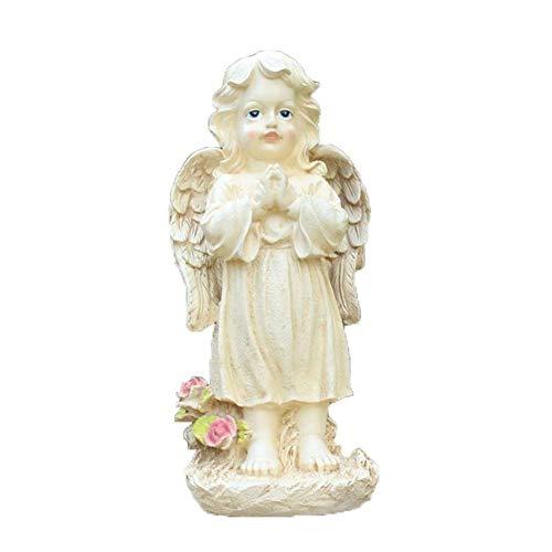 LIUSHI Adornos de jardín Estatua de ángel Rezando al Aire Libre Escultura de ángel de pie Niña Vintage Modelo de artesanía de Resina Impresionante decoración de jardín versátil