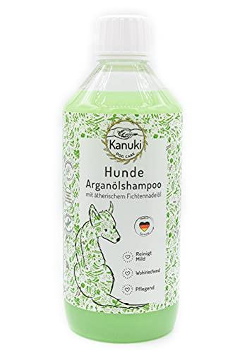 Kanuki Champú para perros con aceite de argán marroquí de 500 ml, con aceite esencial de aguja de pícea, pH 7,5, limpieza suave para todo tipo de pelos, sin siliconas, parabenos ni perfume.