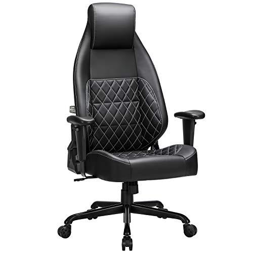 SONGMICS Gaming Stuhl, Bürostuhl mit verstellbarem Lendenwirbelbereich, Kunstleder, weiche Kopfstütze, dicke Polsterung, Fußkreuz aus Stahl, schwarz RCG35BK