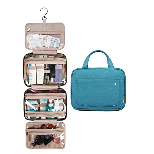 BAGSMART Toiletry Bag Large Hanging Travel Wash Bag Womens Cosmetic Bag for Full Sized Container Lake Blue
