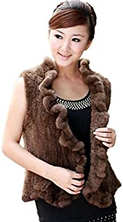 YR Lover New Women's Knitted Real Mink Fur Vest Flounce Decoration Placket