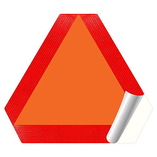 """IGNIXIA Slow Moving Vehicle Sign, PVC Vinyl Decal Slow Moving Vehicle Triangle Sticker, 14""""x 16"""" Inches Orange base with Reflective border, SMV Sign for Golf Cart, UTV, safety Triangle signs"""